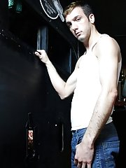 A nice big dick and a bit of gay fun and kink with a glory hole gay uncut blowjobs at Backroomfuckers