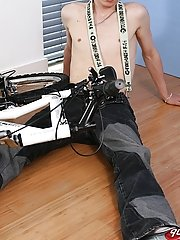 He sits sheer on the bike, then lays side with and grabs his cock with both hands gay socks fetish