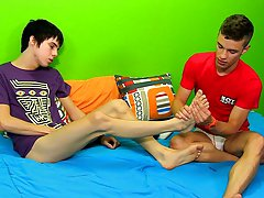 Ryan gives Kyler a foot massage to set the mood before these two fuck like bunnies his first gay dick at Boy Crush!