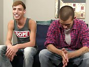 Teen twink jacks off his average dick and emo trick boy - at Boy Feast!