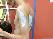 Miles and Preston try to get some painting done but don't get near as much on the wall as they do on each other gay english twinks at Boy Crush!