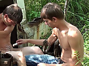 Bound and Waxed Friend outdoor male nudists